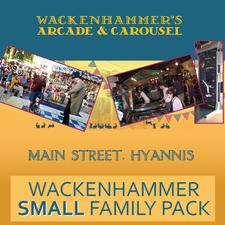 Wackenhammer's Clockwork Arcade, on Main Street - Hyannis, is offering 38% OFF a SMALL Family Pack - NOT VALID IN JULY