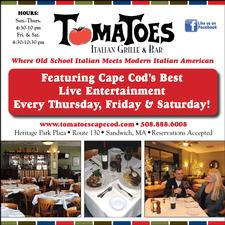 Tomatoes Italian Grille and Bar in Sandwich is offering $25 towards food, for only $12.50