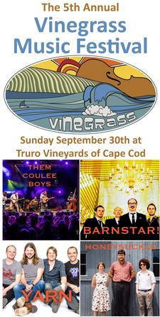 40% OFF The 5th Annual Vinegrass Music Festival tickets: Sunday September 30, 2018 at Truro Vineyards