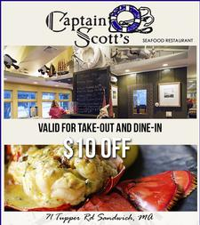 Captain Scott's Seafood Restaurant in Sandwich:  $30 towards food, for only $20