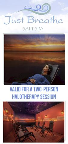Just Breathe Salt Spa in Hyannis is offering 44% OFF a Private TWO-PERSON Halotherapy Session