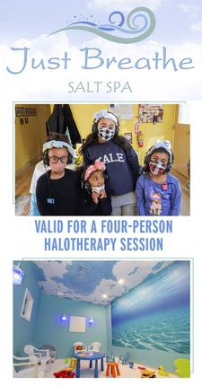 50% OFF a Private FOUR-PERSON Halotherapy Session at Just Breathe Salt Spa in Hyannis