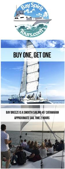 Bay Breeze Day Sail in Hyannis on our 45' Catamaran - Buy One, Get One FREE