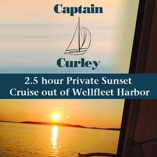 Captain Curley Sailing Charters in Wellfleet Harbor is offering 50% OFF a 2.5 hour Private Sunset Sail for Up to Four(4)
