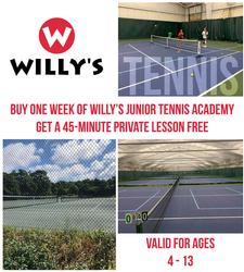 Willy's Gym in Eastham: Buy One Week of Willy's Junior Tennis Academy, Get a Private Lesson FREE