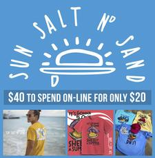 Sun Salt N' Sand is offering $40 to spend at their On-Line Store, for only $20