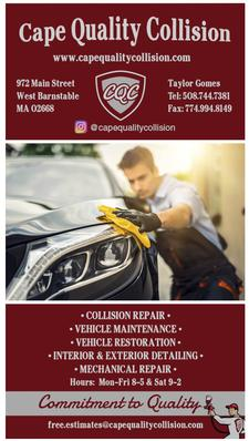 40% OFF Auto Detailing with Cape Quality Collision in West Barnstable